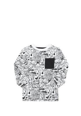 F&F Monster Print Long Sleeve T-Shirt White 3-4 years