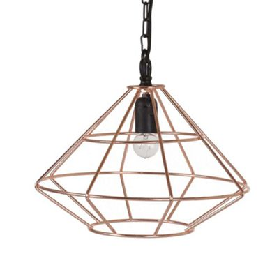 Bahne Geometric Cage Pendant Ceiling Hanging Light in Copper 31.5 x 37 cm