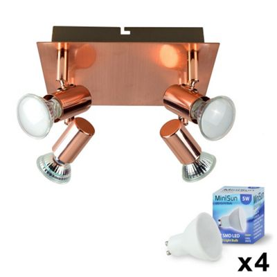 Square 4 Way LED Ceiling Spotlight, Copper & Daylight GU10 Bulbs