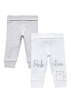 F&F 2 Pack of Slogan Cuffed Trousers - White/Grey