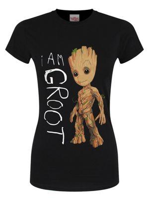 Guardians Of The Galaxy I Am Groot Women's Black T-shirt