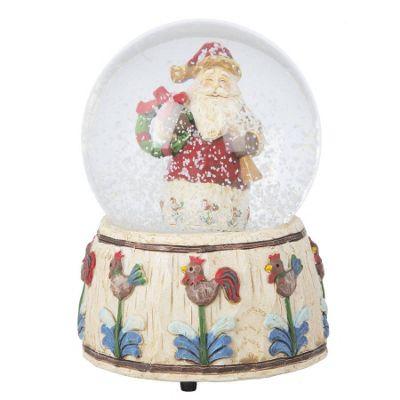 Santa With Wreath Musical Snow Globe