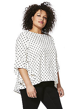 Izabel Curve Polka Dot Plus Size Top - White Multi