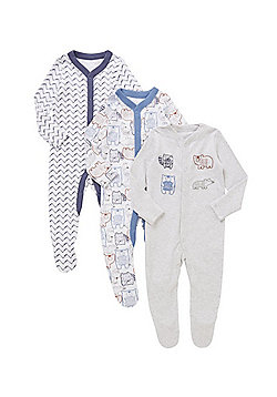 F&F 3 Pack of Woodland Design Sleepsuits - White
