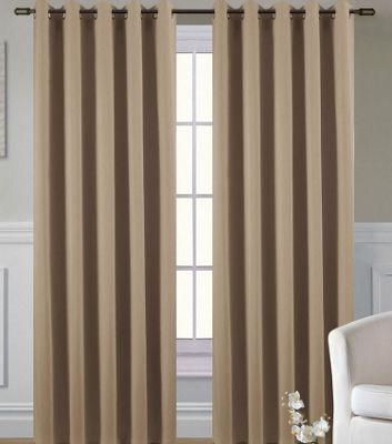 Living or Dining Room Thermal Blackout Eyelet Curtains 54s in Coffee