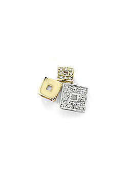 Ladies 9ct White Yellow Gold Pave Diamond Cube Blocks Charm Pendant 13 x 12mm