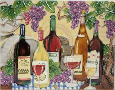 YH Arts Ceramic Wall Art, Vineyard Design 2 14 x 11