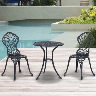 Outsunny 3pc Bistro Set Garden Furniture Dining Table Chairs Cast Aluminum