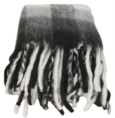 Black and White Wool Check Throw Blanket Sofa Bedroom Decor