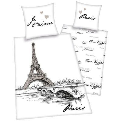 Paris Art Single Duvet Cover and Pillowcase Set