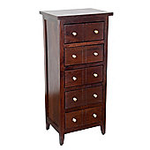 Homescapes Groove Dark Solid Mango Wood Tall Chest of 5 Drawers