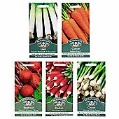 Mr Fothergill's Seeds - Grow Your Own Top 5 Root Vegetable Collection - 5pc Multipack