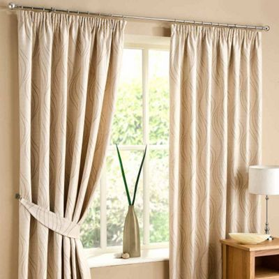Homescapes Natural Lined Curtain Pair Swirl Design 66x54