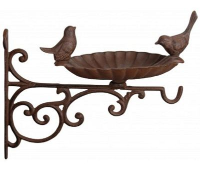 Cast Iron Bird Bath, Feeder & Hanging Basket Bracket