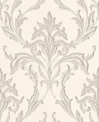 Boutique Oxford Embellished Damask Pearl/Taupe Wallpaper