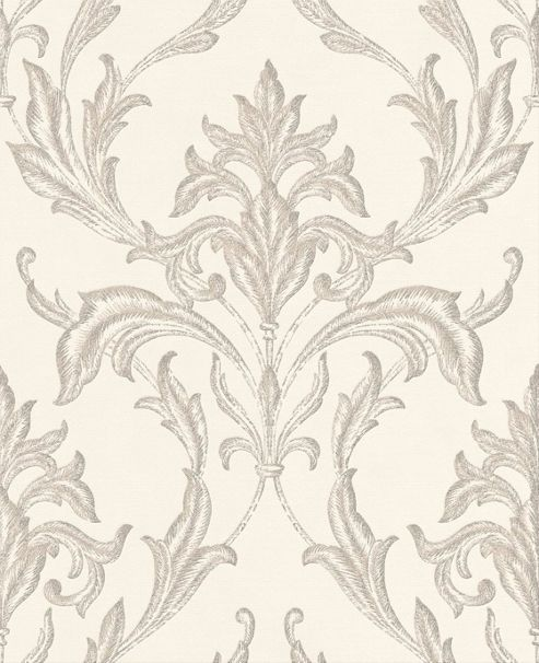 Boutique Oxford Embossed Metallic Damask Pearl / Taupe Wallpaper