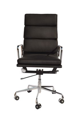 EA219  High Back Soft Pad Black Leather Office Chair
