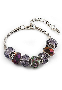 Purple Glass & Acrylic Bead Bracelet (Silver Tone Metal) -17cm Length