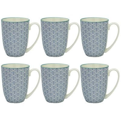 Geometric Design Porcelain Tea Coffee Mug Cups Blue 350ml x6