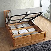 Happy Beds Malmo Wooden Ottoman Storage Bed with Memory Foam Mattress - Oak - Oak