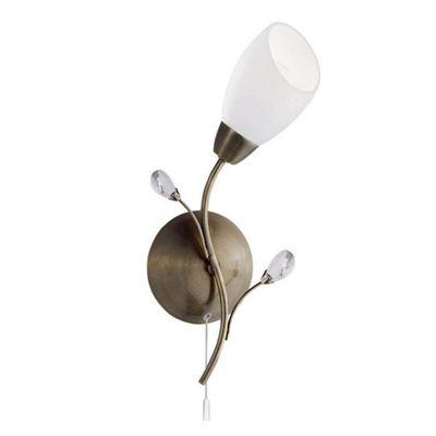 GARDENIA 1 LIGHT ANTIQUE BRASS WALL BRACKET CRYSTAL DETAIL WHITE GLASS