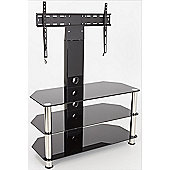 AVF Universal Black Glass and Chrome Legs Cantilever TV Stand For up to 55 inch TVs