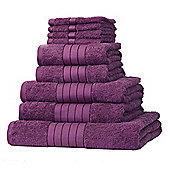 Dreamscene Luxury Egyptian Cotton Towel Bale 9 Piece Set - Plum