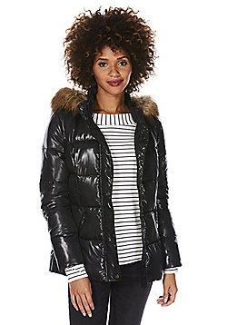 F&F Wet Look Faux Fur Trim Puffer Jacket - Black