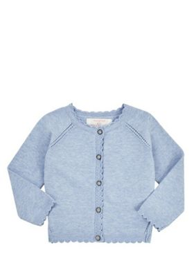 F&F Scallop Edge Button-Through Cardigan with As New Technology Blue 0-3 months