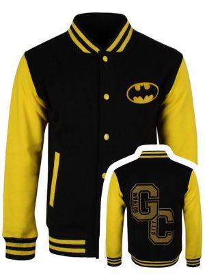 Batman Gotham City Men's Varsity Jacket, Black.