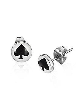 Urban Male Black Spade Playing Card Symbol Stainless Steel Mens Stud Earrings 7mm