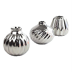 'Fedor' Set of 3 Silver Ceramic Decorative Vases
