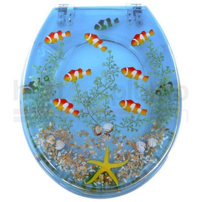 Clown Fish RESIN Novelty Toilet Seat with Metal Round Hinges