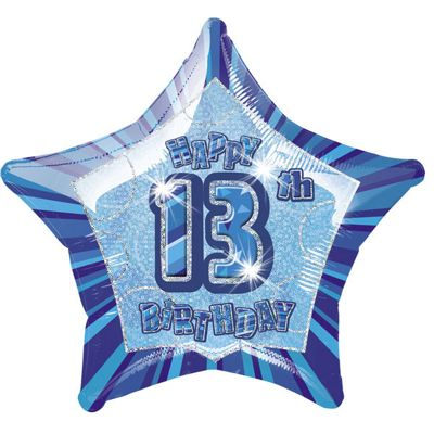 13th Birthday Star Balloon - 20 inch Foil