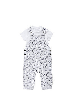 F&F Bodysuit and Sea Creature Dungarees Set - Grey