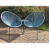 Monaco Blue 3 Piece Egg Chair Set