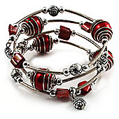 Silver-Tone Beaded Multistrand Flex Bracelet (Red)