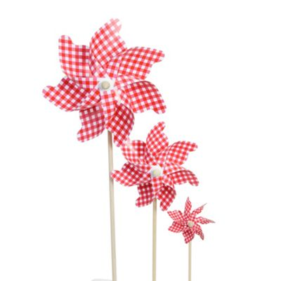 Set of 3 Red & White Gingham Plastic Garden Windmill Ornament