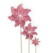 Set of 3 Red & White Gingham Plastic Garden Windmill Ornament