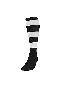Precision Training Club Weight Stretch Nylon Hooped Football Socks - Black & White