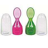 Munchkin Click Lock Food Pouch Spoons Pack of 2 Pink/Green