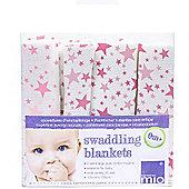 Bambino Mio Swaddling Blanket Pink Star (2 Pack)
