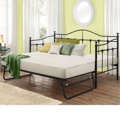 Happy Beds Torino Metal Day Bed and Underbed Trundle Guest Bed with 2 Pocket Spring Mattresses - Black - 3ft Single