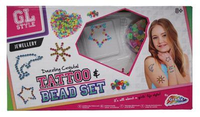 Girls Crystal Temporary Tattoos Bead Jewellery Making Set GL Style Tattoo  Kids