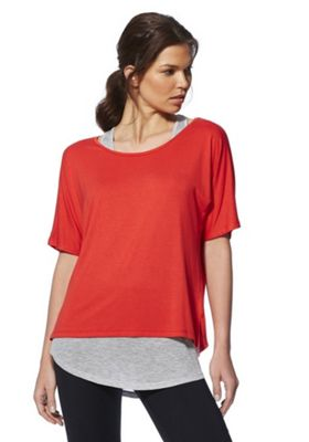 F&F Active 2 in 1 T-Shirt and Vest Top Red/Grey XS