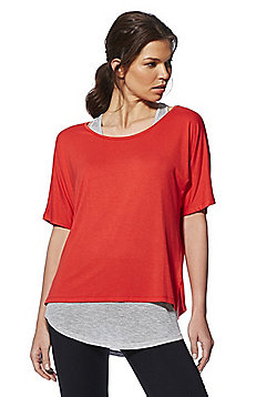 F&F Active 2 in 1 T-Shirt and Vest Top - Red/Grey