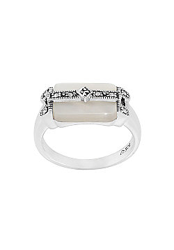 Gemondo Sterling Silver Art Deco 2.5ct Shell Mother of Pearl & Marcasite Ring