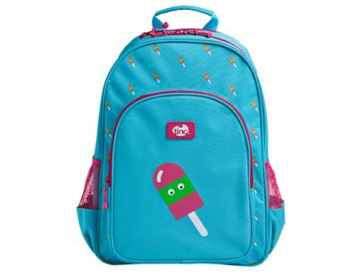 Tinc Lolly design childs Backpack for school with 2 water bottle pockets and large storage compartment - Blue/Pink