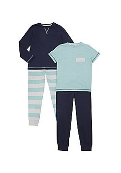 F&F 2 Pack of Striped Marl Pyjamas - Mint/Navy