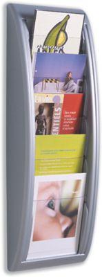 Fast Paper Quick Fit Literature Holder Wall-mount 5 x A5 Pockets W228xD95xH650mm Aluminium Ref 4063.35